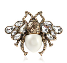 NEW Bee Insect Pearl Crystal Antique Gold Gucci Style Double Ring Adjustable