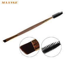 2 in 1 Wimper-Augenbrauen Pinsel Spiralbürste Bambus dunkelbeige groß