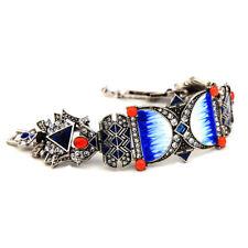 Bracelet Doré Large Art Deco Porcelaine Bleu Orange Geometric Mariage Retro CT9