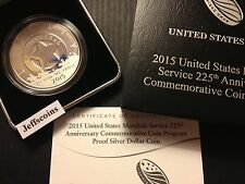 2015 P United States Marshals 225th Anniversary PROOF Silver Dollar Bx w/COA SR3