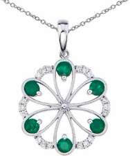 14K White Gold Round Emerald & Diamond Flower Pendant (Chain NOT included)