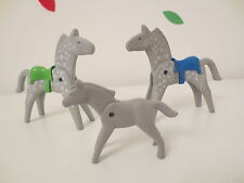 Playmobil geobra dapple grey horses and grey foal with saddles