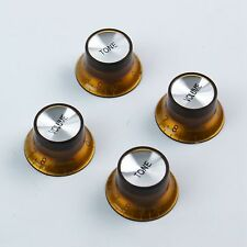 Set of 4 Golden Brown Top Hat Bell Style Guitar Knobs (2 Tone,2 volume) Foil-top