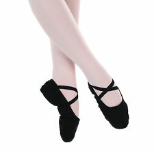 Baiwu Women's Canvas Split Sole Dance Slipper Ballet Shoes