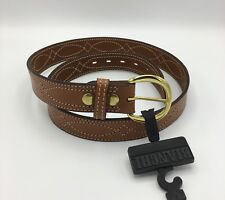 "Bianchi B12 Fancy Stitched Gun Dress Belt 1.5"" Width Tan Finish Brass Buckle 34"""
