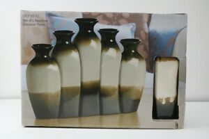 Elements Reactive Brown 5-piece Ceramic Vase Set - DISCONTINUED