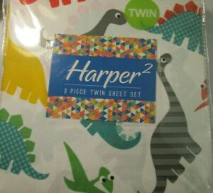 Harper 3 Pc Twin Sheet Set Dinosaur White Green Blue Multi NIP