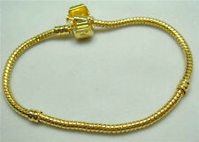 1pcs Snake Chain 20cm P gold Plated Charm Bracelets Fit European Beads c4ng