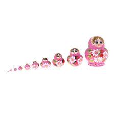 Girl Russian Nesting Doll Babushka Matryoshka Stacking Dolls Set 10 Pcs Pink