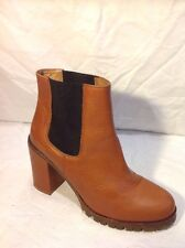 Deena&Ozzy Brown Ankle Leather Boots Size 7