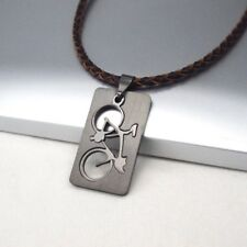 NEW Black Dog Tag Bicycle Stainless Steel Pendant Brown Braided Leather Necklace