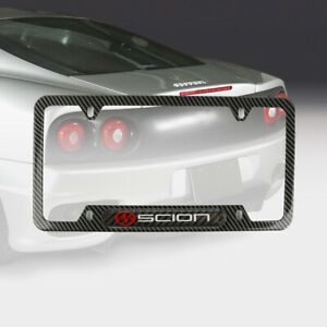 X1 SCION CARBON LOOK Metal License Frame Stainless Steel BLACK Carbon Emblem