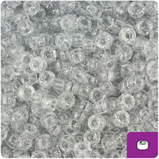 1000 Silver Sparkle 7mm Mini Barrel Plastic Pony Beads Made in the USA