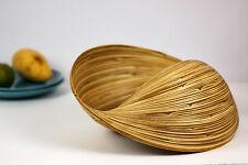 Decorative Handmade Wave Bamboo Bowl Basket Fruit Bread Dry Ingredients. Natural