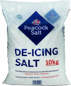 10KG WHITE BAG DE-ICING ROCK SALT GRITTING FOR SNOW & ICE DRIVEWAYS PATHS/ROADS
