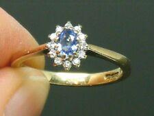 9CT Gold 9K Gold Ceylon Sapphire & Diamond Hallmarked ring size N