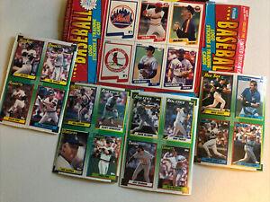 5 Uncut Baseball Card Box Bottoms, 22 Cards 1990