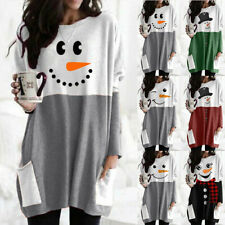 Womens Christmas Snowman Print Pullover Tops Ladies Long Sleeve T Shirt Blouse