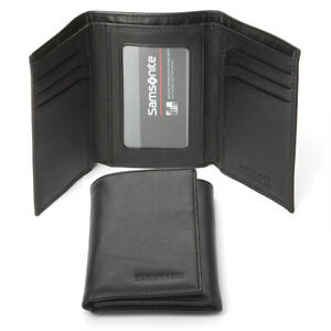 NEW Samsonite Business Leather Trifold Wallet Black