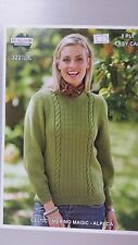 Heirloom Knitting Pattern #322 Ladies Round Neck Jumper to Knit in 8 Ply