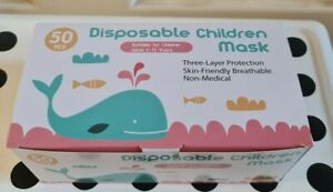 2  X 50pcs 3 Layer Disposable Children Mask (4-12years Old) New ,Limited Stock
