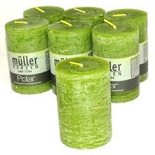 6 Stück Rustik Stumpenkerzen 85 x 60 mm durchgefärbte Rustic Kerzen, Grün