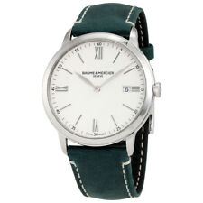 Baume et Mercier Classima White Dial Mens Green Leather Watch 10388
