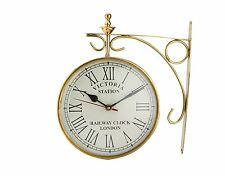 Brass Victoria Station Double Sided Railway Clock Functional Clock Home Decor UK