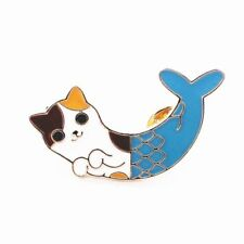 Vintage Cat Fish Brooch Pin Gold Tone with Pretty Blue Eyes As A Perfect Gift