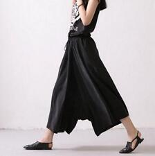Spring Casual Low Crotch Elastic Waist Women's Harem Skirt Pants Side Pocket