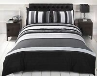 Det Stripe Grey White & Black Duvet Quilt Cover Bedding Boys Mens Bed FREE P&P