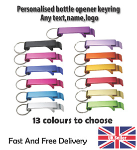 Bottle Opener Key Ring Keyring any name logo text perfect gift
