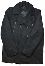 Calvin Klein Double Breasted Peacoat Wool Blend Black Jacket in XL MSRP $298