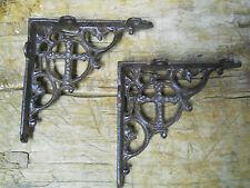 4 Cast Iron Antique Style CROSS Brackets, Garden Braces Shelf Bracket RUSTIC