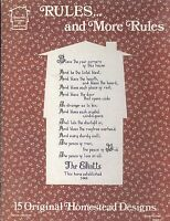 Rules & More Rules Cross Stitch Booklet 1982 Elliott Homestead Mom Office Potty