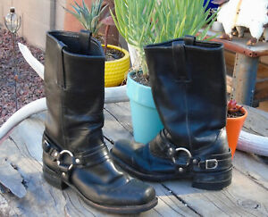 10 12 USA Vintage Black Leather Motorcycle Harness Boots Sz