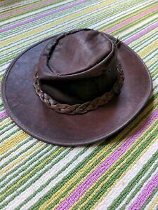Barmah Fedora Bronco Leather Hat Cowboy Survival Country Skills brown tan