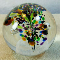 Vintage Crystal Jablonski Poland Flower Controlled Bubble Glass Paperweight 3""