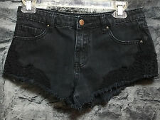 FOREVER 21 Black Denim Jean Shorts Cut Off Style Floral Crochet Girls Size - 25