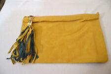 Borsa pochette in ecopelle e camoscio giallo verde suede faux-leather clutch