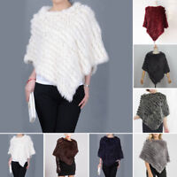 Winter Tippet Shawl Cape Coat Winter Womens Casual Rabbit Fur Knitted Poncho