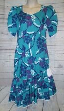 NWT L Coral Reef Hawaiian Dress Long VTG Insp Floral Ruffle Hem
