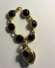 Robert Lee Morris/Donna Karan Gold Plated Brass & Onyx Charm Bracelet 1988