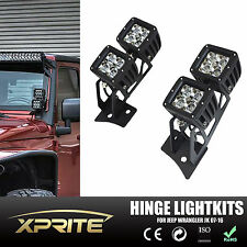 "07-17 JEEP WRANGLER JK Hindge Bracket + 4PC 3"" 20W Offroad LED Spot Light w/Lens"