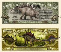 STEGOSAURE - BILLET 1 MILLION DOLLAR US ! DINOSAURE STEGOSAURUS Jurrassic Animal