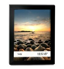 """Cavepop 12x18"""" Black Wood Picture Poster Frame with Plexi-Glass Front"""