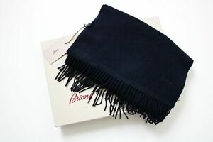 $1250 BRIONI Navy Blue Super Soft 100% Cashmere Scarf with Box