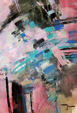 JOSE TRUJILLO Abstract MODERN Large 30X40 Painting ORIGINAL Expressionism COA