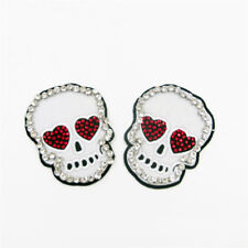 New Skull Patch Rhinestone Love Eye Embroidered Applique Iron On DIY Clothes Top