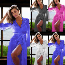Sexy Lingerie Sleepwear Lace Dress Womens Long Bathrobe Night Gown Babydoll Robe
